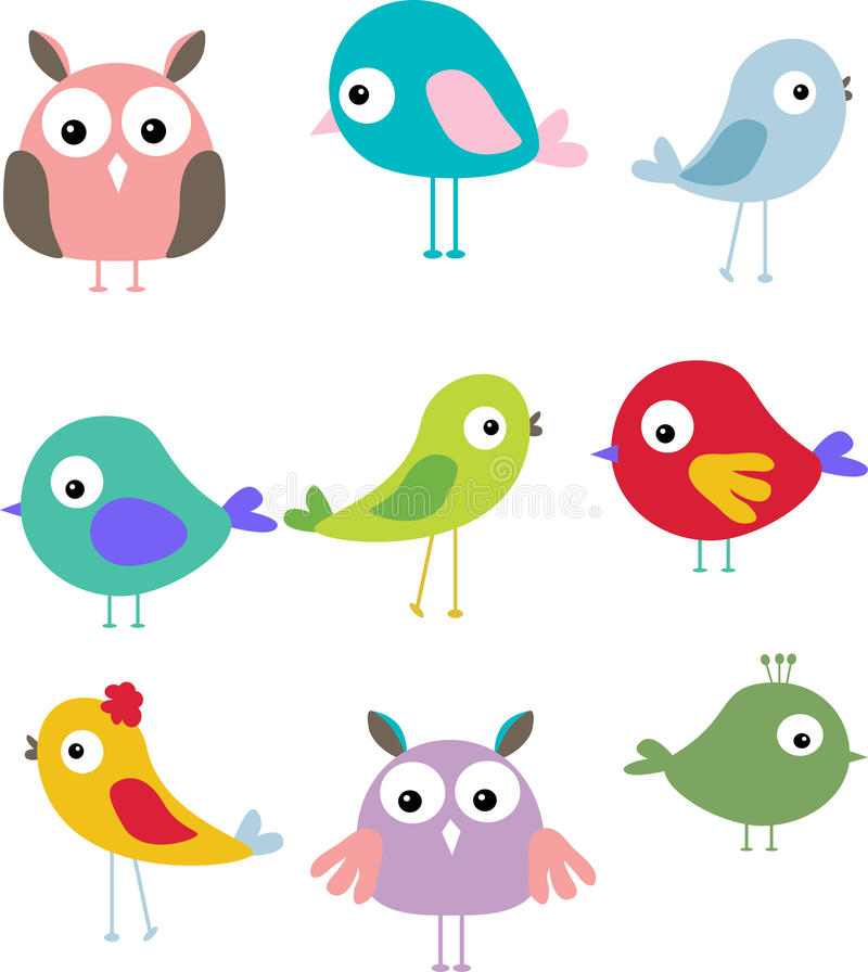 Reeks van verschillend leuk vogelbeeldverhaal vector illustratie