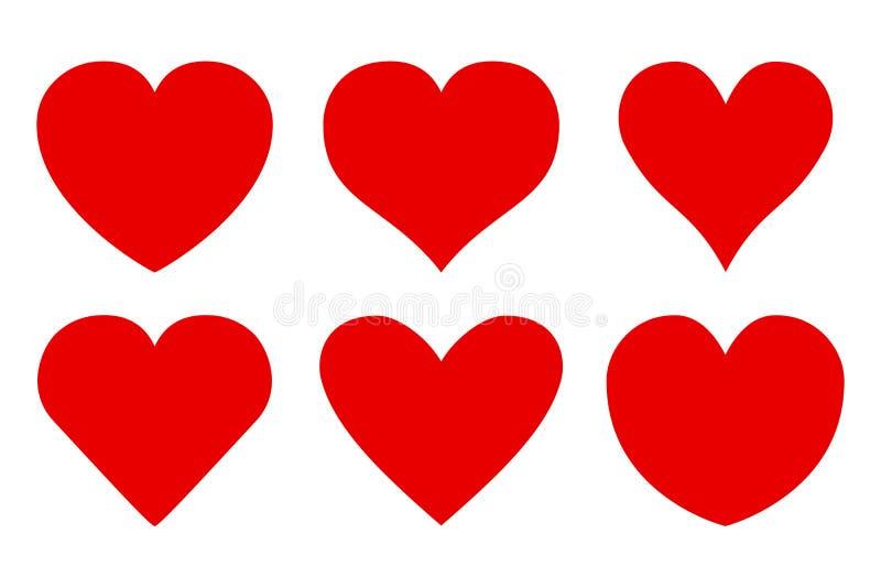 Reeks van verschillend rood hartenpictogram - vector stock illustratie