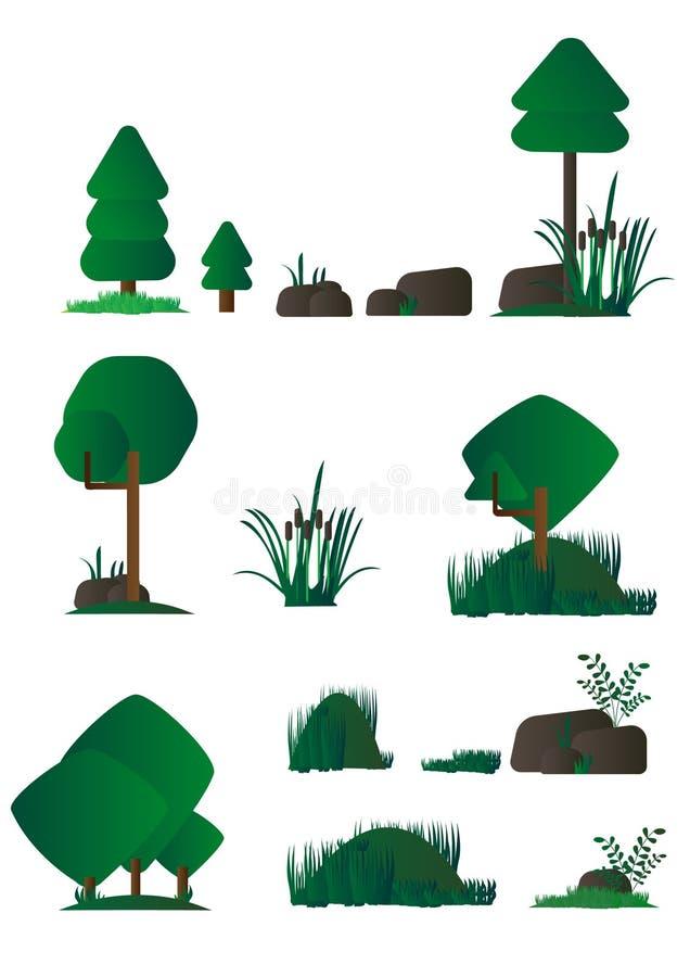 Reeks van verschillende beeldverhaalflora, moerasinstallaties in vlak ontwerp, struiken, bomen, rotsen Videospelletje stock illustratie