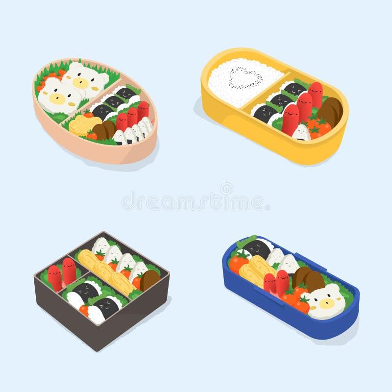 Reeks van verschillende bento De Japanse inzameling van lunchdozen Grappig beeldverhaalvoedsel Isometrische kleurrijke vectorillu vector illustratie
