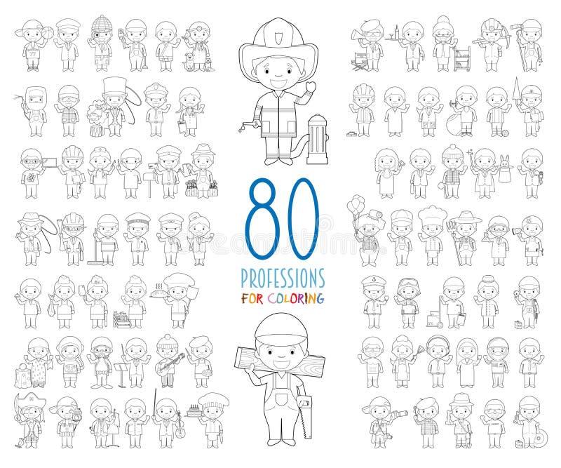 Reeks van 80 verschillende beroepen voor kleuring in beeldverhaalstijl vector illustratie