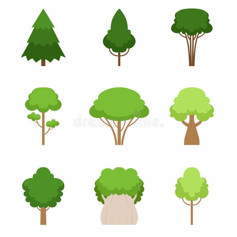 Reeks van verschillende bomeneik, sequoia, sparren, pijnboom, ceder, esdoorn, linde Vector illustratie Geïsoleerdj op witte achte royalty-vrije illustratie