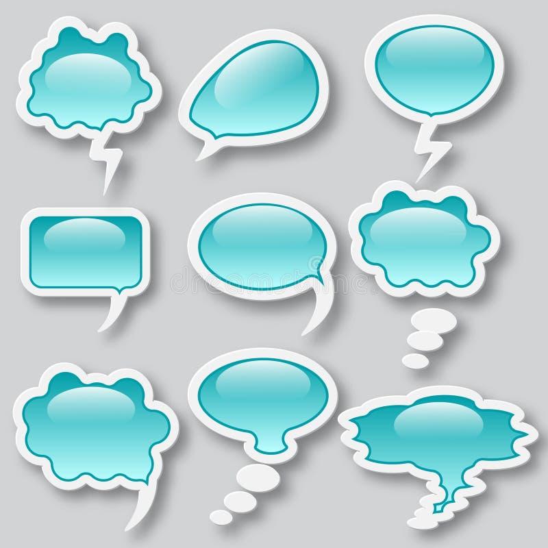 Reeks van verschillende gedachte wolk elf blauwe voorwerpen stock illustratie
