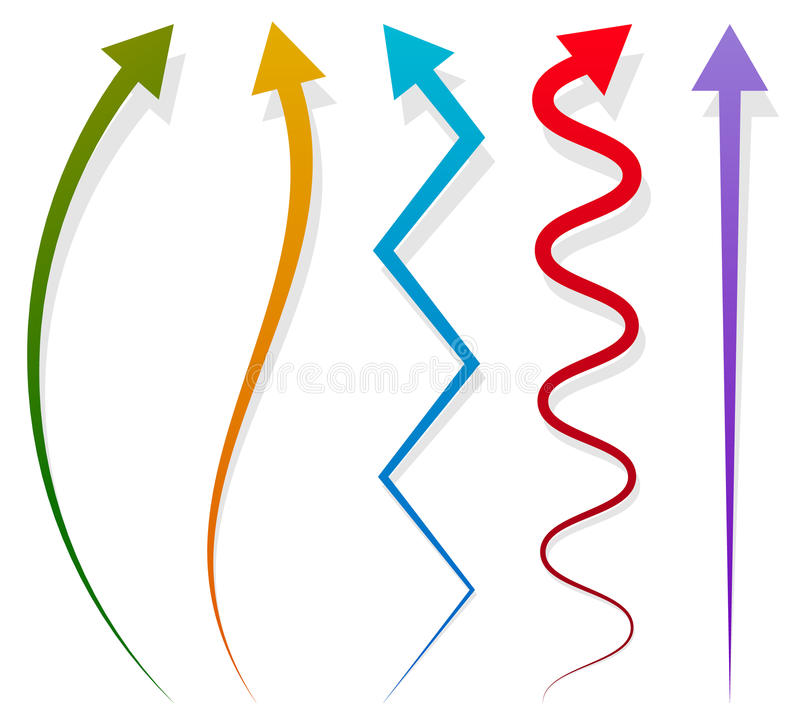Reeks van 5 verschillende lange, verticale pijlelementen met schaduw stock illustratie