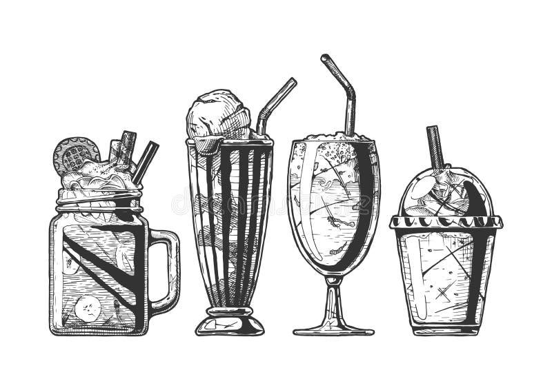 Reeks van verschillende milkshake stock illustratie