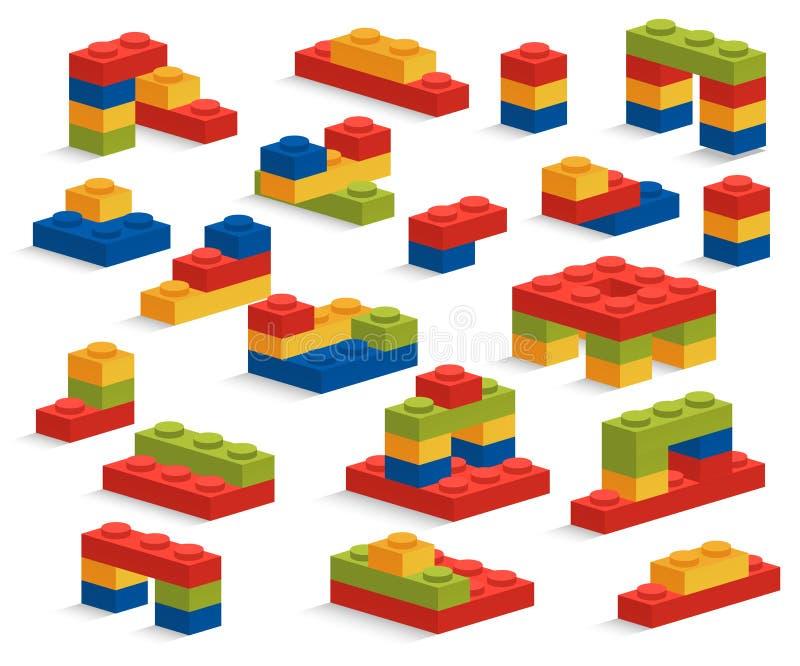 Reeks van verschillende plastic stukken of aannemer vector illustratie