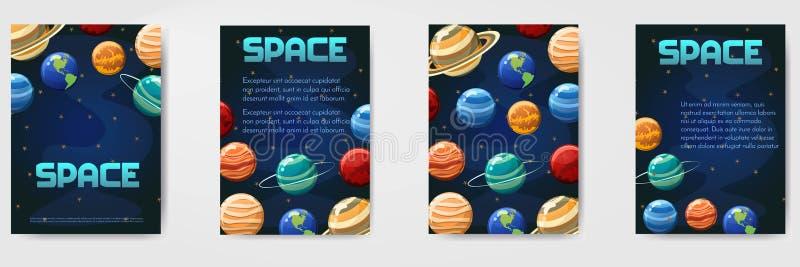 Reeks van verschillende vectorruimte, heelal met planetenmalplaatje voor vlieger, tijdschrift, affiche, dekking, banner, groetkaa vector illustratie