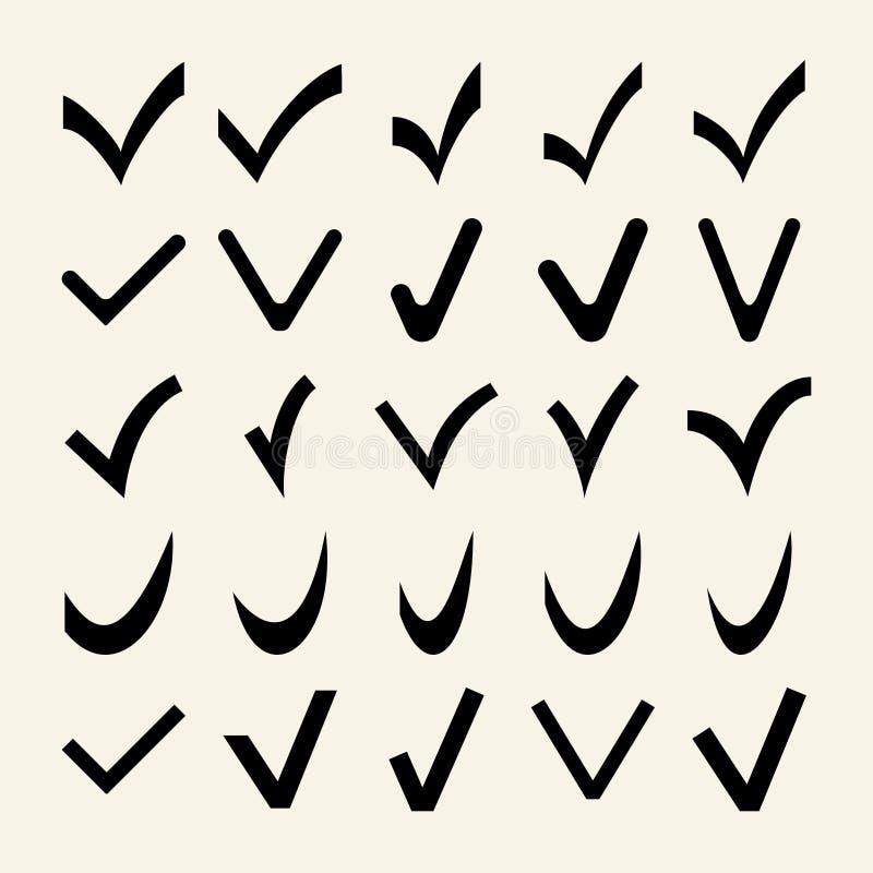 Reeks van 25 Verschillende Vectorvinkjes vector illustratie