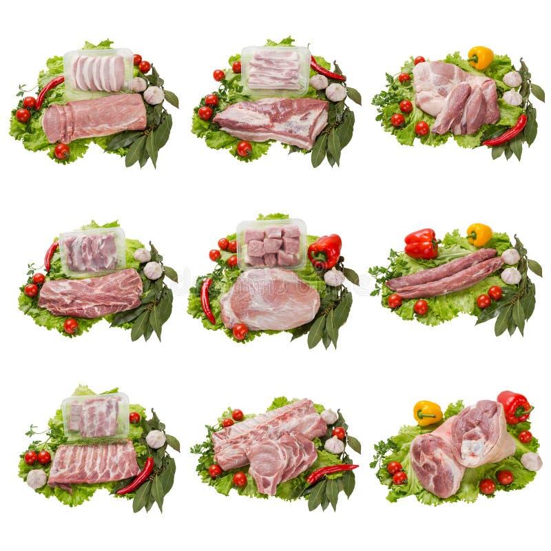Reeks van verschillende vleeswaren vector illustratie