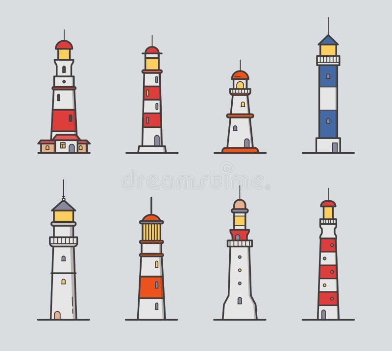 Reeks van verschillende vuurtoren Kleurrijke vectorillustratieinzameling in lineartstijl op grijze achtergrond stock illustratie