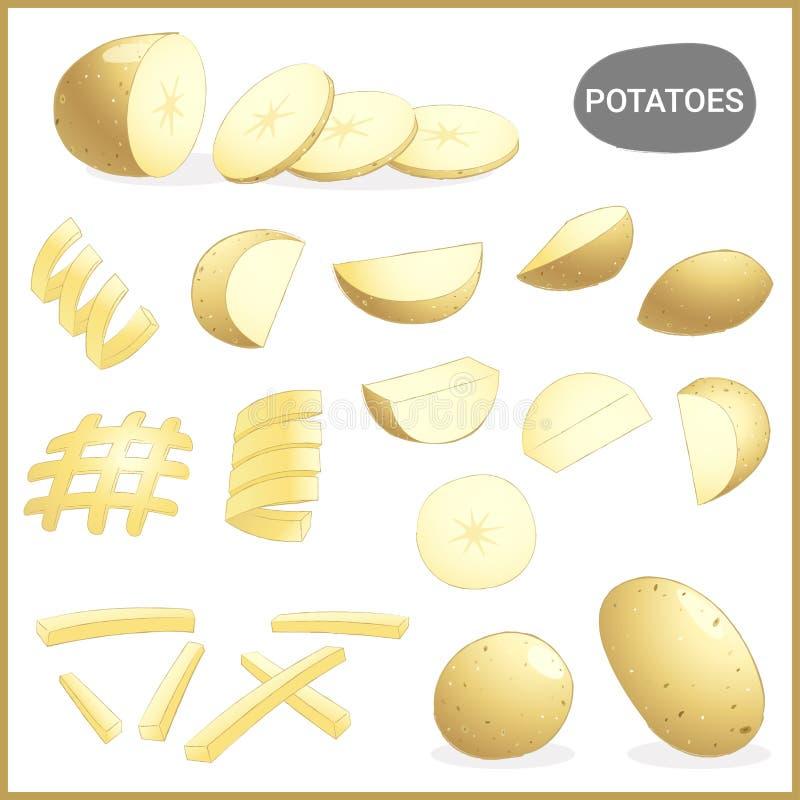 Reeks van verse aardappelsgroente met diverse besnoeiingen en stijlen in vectorillustratie royalty-vrije illustratie
