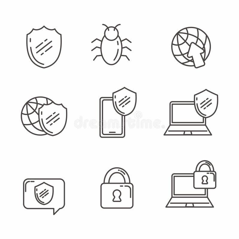 Reeks van verwant de lijnpictogram van Internet bescherming vector illustratie