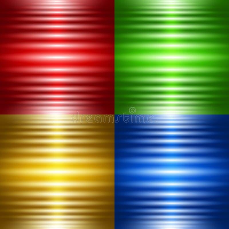 Reeks van vier abstracte achtergronden met lichtgevende strepen royalty-vrije illustratie