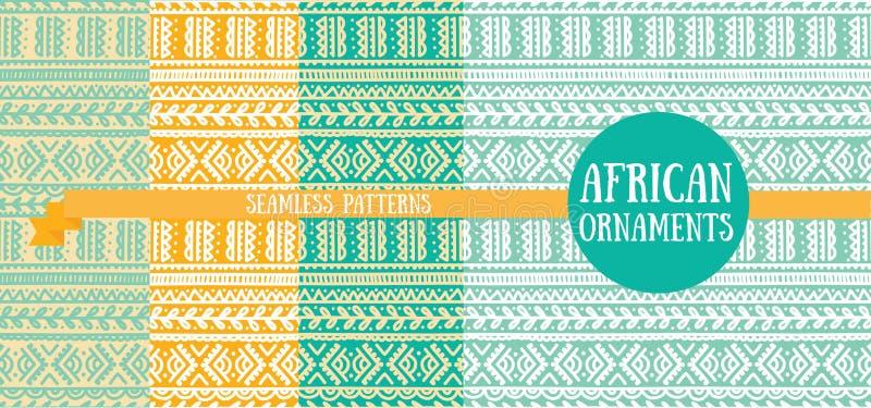 Reeks van vier abstracte naadloze patronen, krabbelornamenten royalty-vrije illustratie