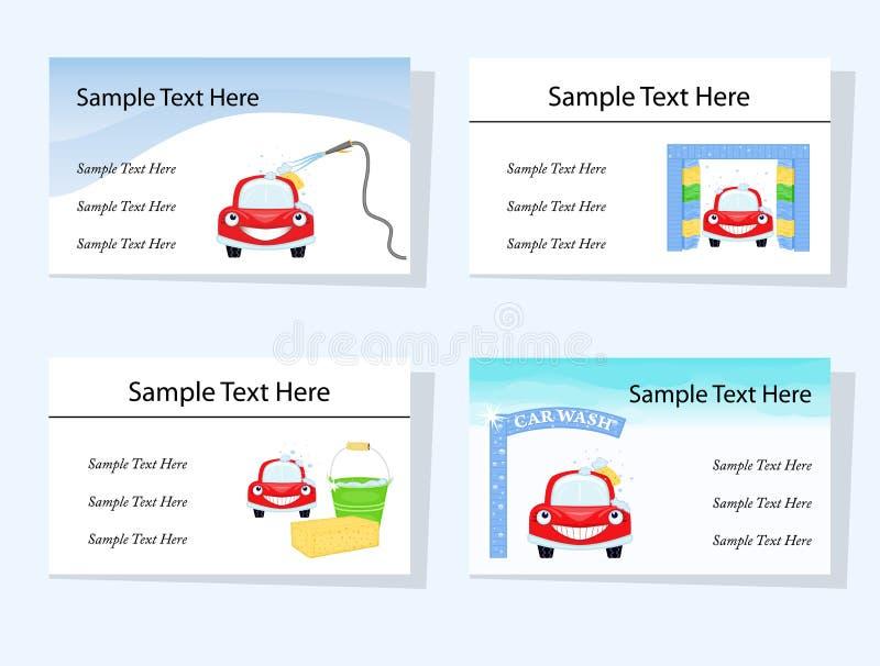 Reeks van vier autowasseretteadreskaartjes stock illustratie