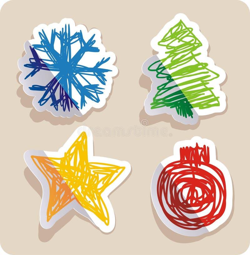 Reeks van vier belangrijke symbolen van Kerstmis stock illustratie