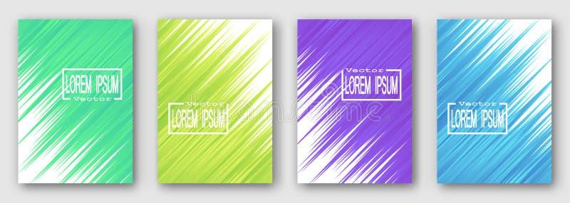Reeks van vier brochures, affiches, vliegers Groene gele purpere blauwe strepen diagonaal Voor uw ontwerp vector illustratie