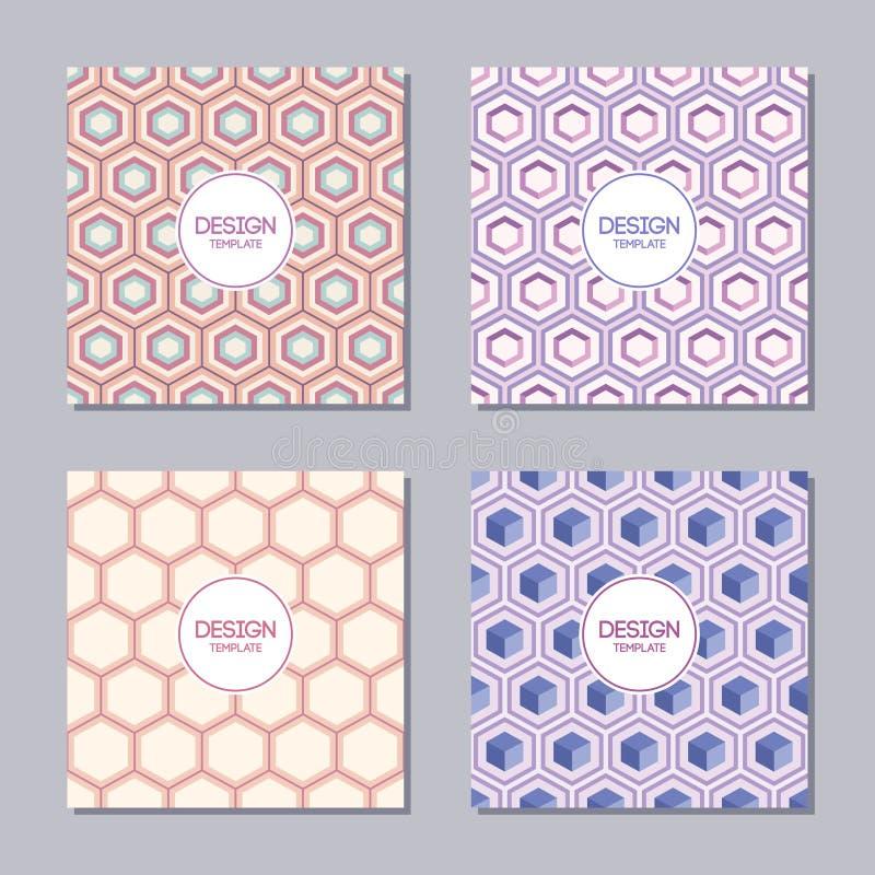 Reeks van vier creatieve dekking met abstract geometrisch patroon van zeshoeken royalty-vrije illustratie