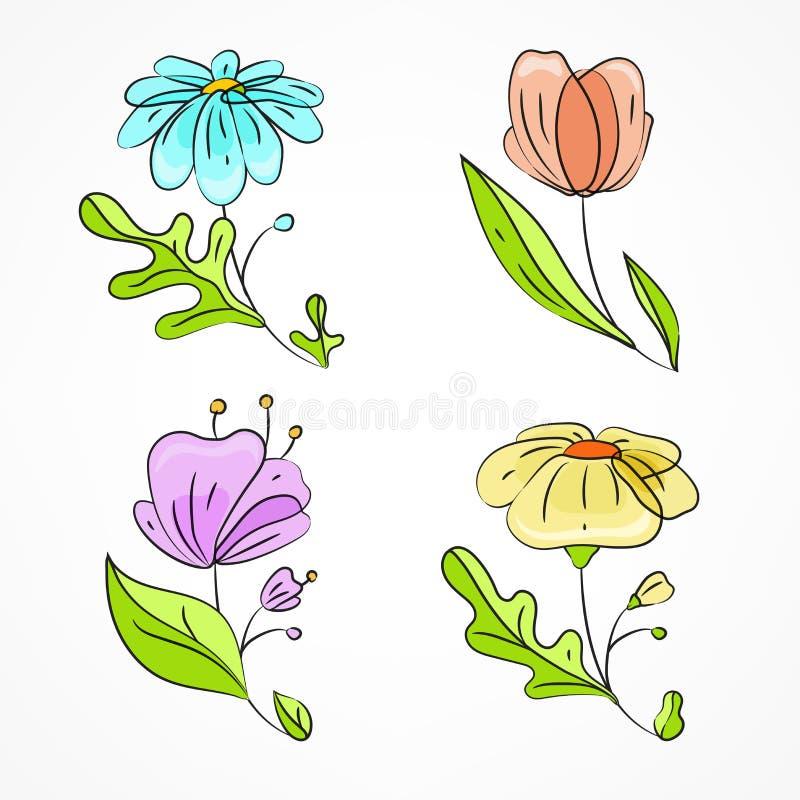 Reeks van vier de lentebloemen vector illustratie