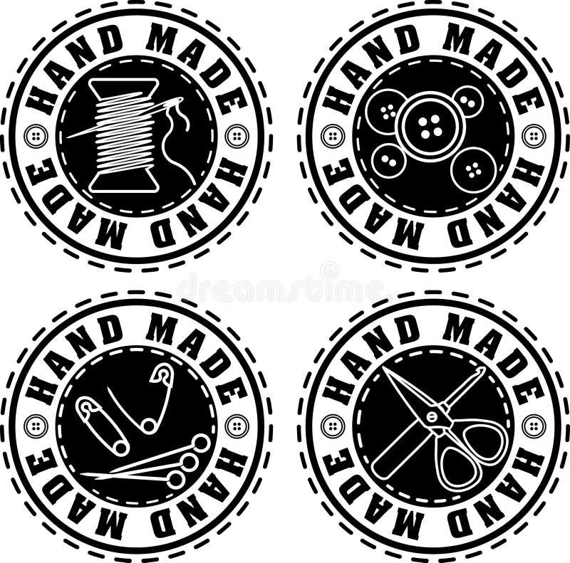 Reeks van vier de zwarte rubberhand van de zegel stevige stijl - gemaakte etiketten stock illustratie