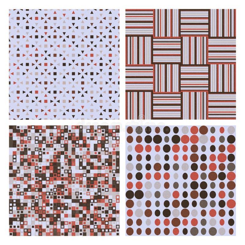 Reeks van vier decoratieve retro naadloze patronen stock illustratie