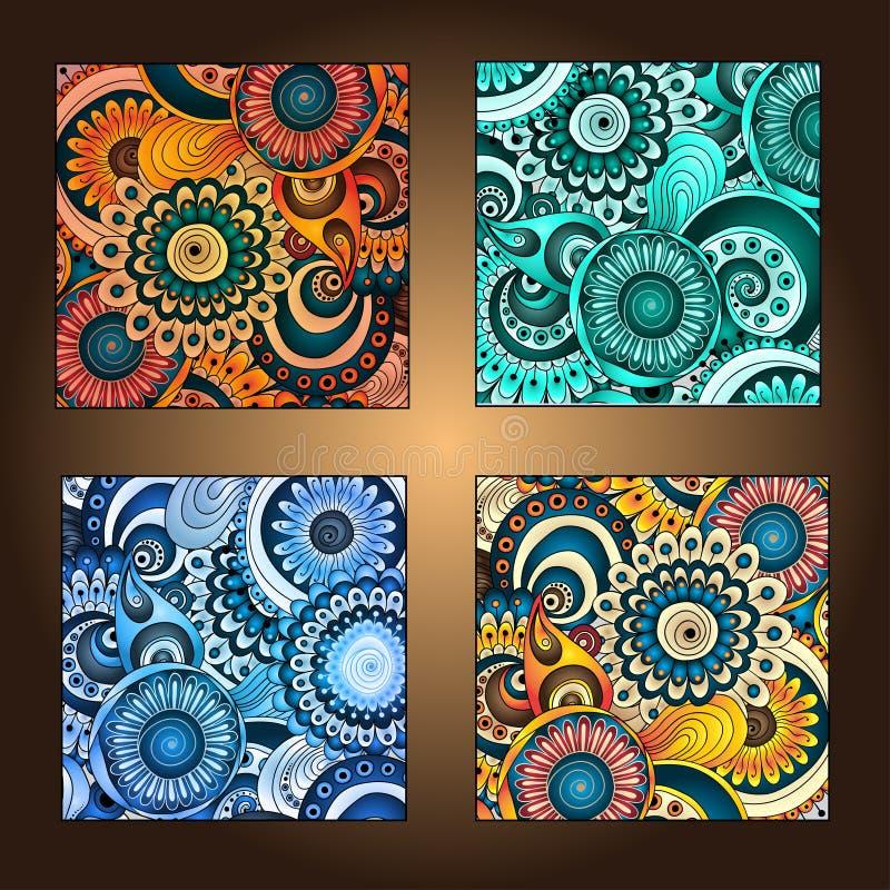 Reeks van vier decoratieve sier etnische kaarten. vector illustratie