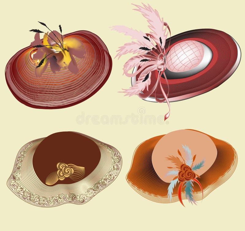 Reeks van vier elegante hoeden van de de zomervrouw met linten, bloemen, veren die op lichte achtergrond worden geïsoleerd vector illustratie