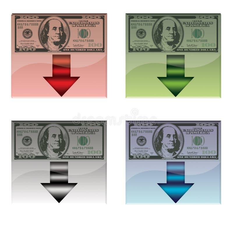 Reeks van vier geïsoleerde downloadknopen met Amerikaans bankbiljet, stock foto