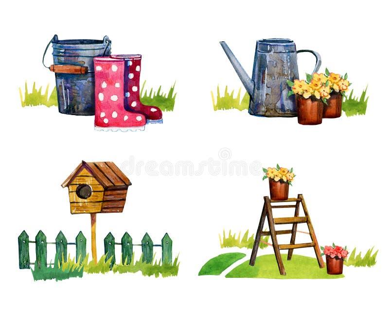 Reeks van vier geïsoleerde scènes met het tuinieren hulpmiddelen - hand getrokken waterverf royalty-vrije illustratie