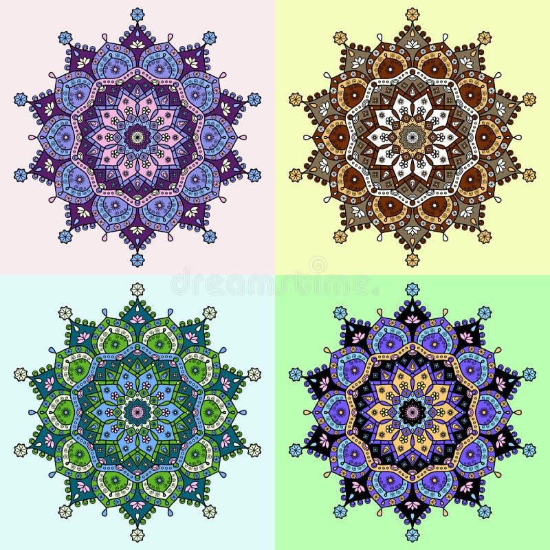 Reeks van vier gekleurde versies van een mandalapatroon royalty-vrije illustratie