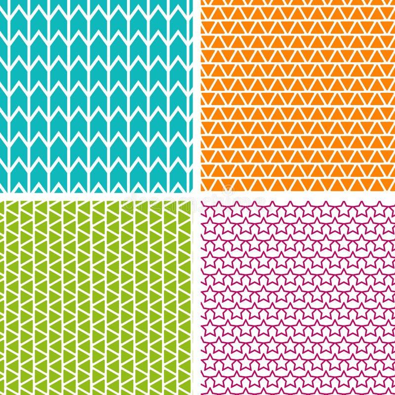 Reeks van vier geometrische patronen Inzameling van verschillende abstracte patronen royalty-vrije illustratie