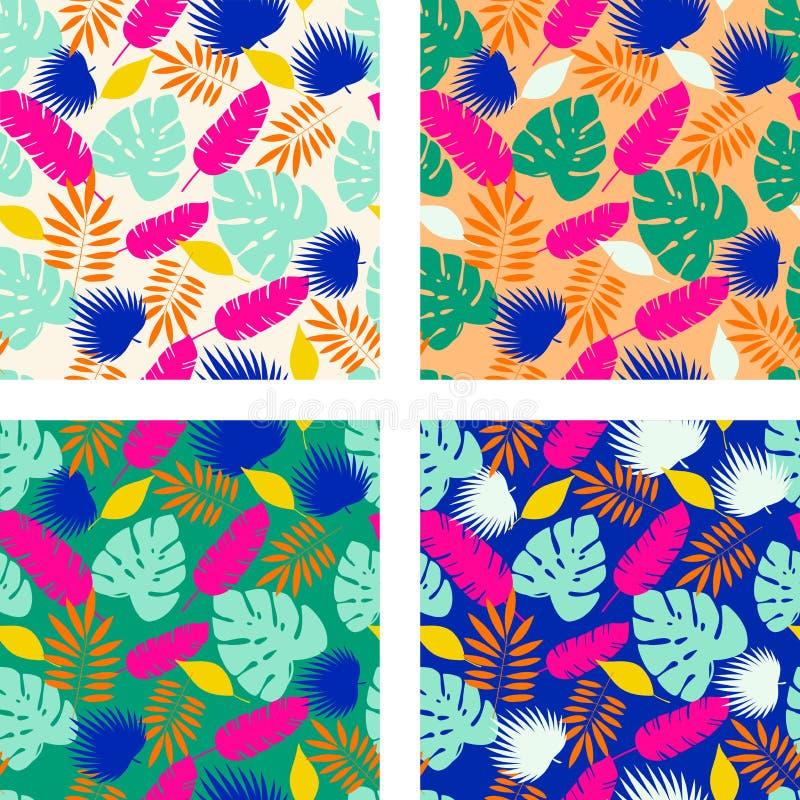 Reeks van vier gewaagde heldere tropische bladeren naadloze patronen Vector vector illustratie
