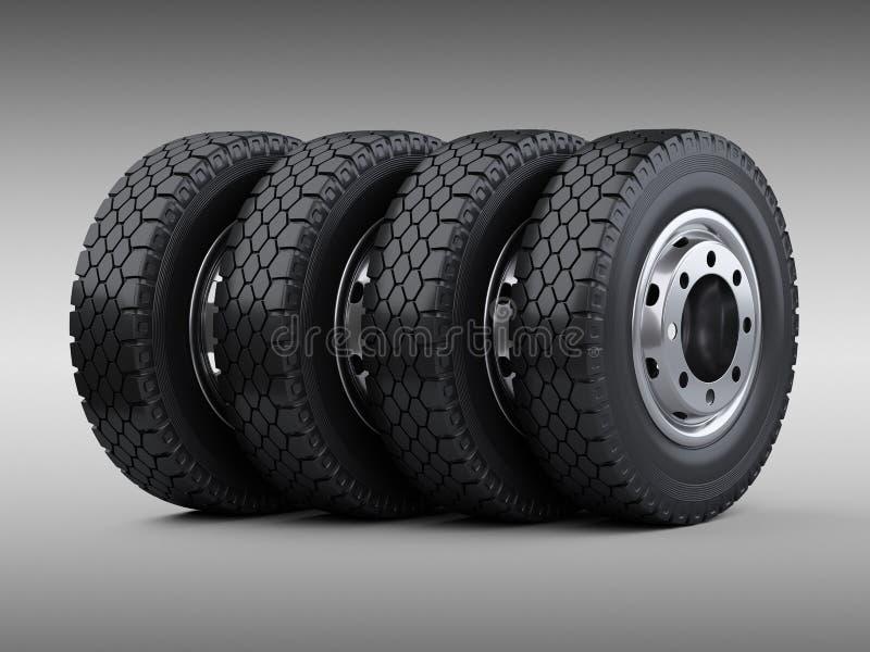 Reeks van vier grote gestapelde banden van de voertuigvrachtwagen Nieuwe autowielen met vector illustratie
