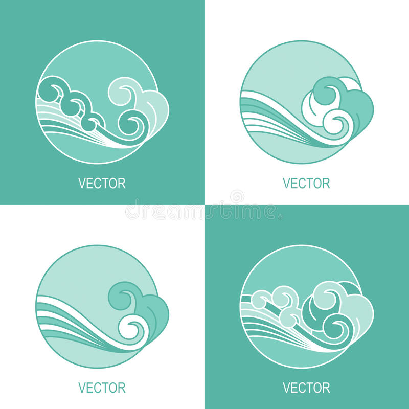 Reeks van vier het eenvoudige malplaatje van het de cirkelembleem van het ecowater stock illustratie
