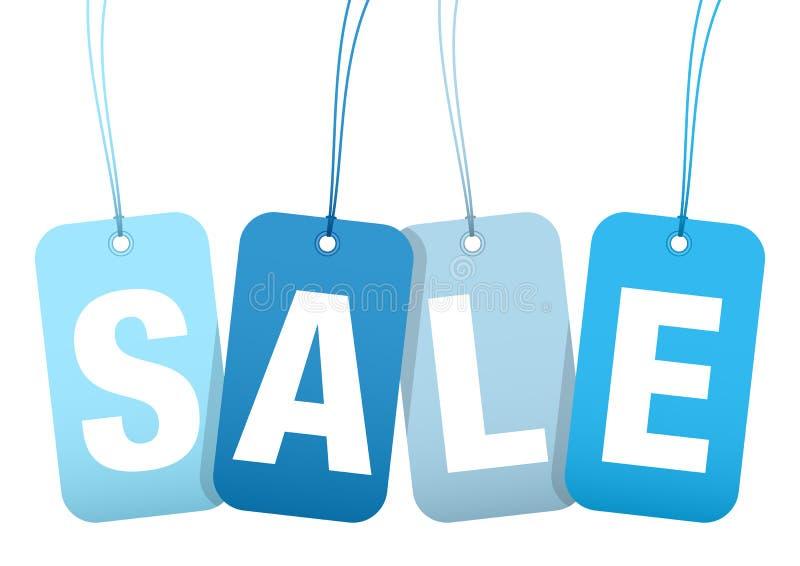 Reeks van Vier het Hangen Hangtags het Blauw van de Verkoopwinter vector illustratie