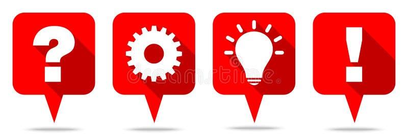 Reeks van Vier het het Rode Speechbubbles Idee en Antwoord van het Vraagwerk stock illustratie