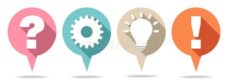 Reeks van Vier het Ronde Speechbubbles Idee van het Vraagwerk en Antwoord Retro Kleur vector illustratie