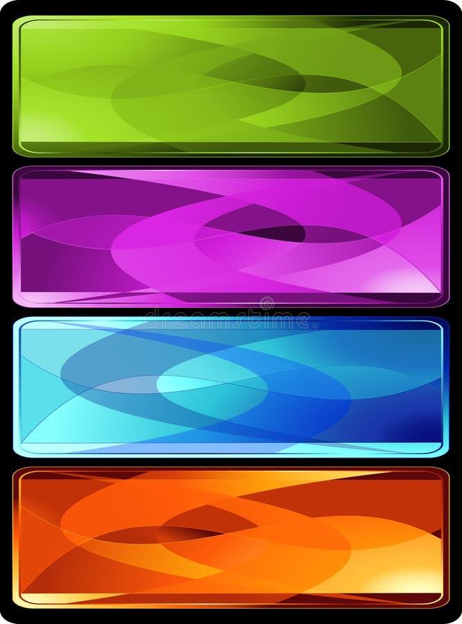 Reeks van vier horizontale gekleurde banners vector illustratie