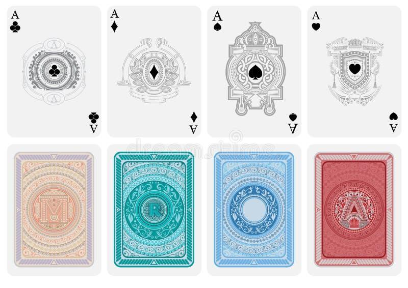 Reeks van vier kaartazen met verschillende gezichten in retro stijl met patroon en vier ruggen met abstracte kostuums stock illustratie