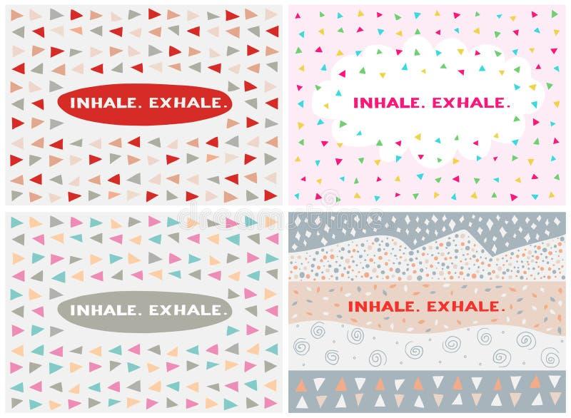 Reeks van vier kaarten, vectormalplaatjes inhaleer exhale royalty-vrije illustratie