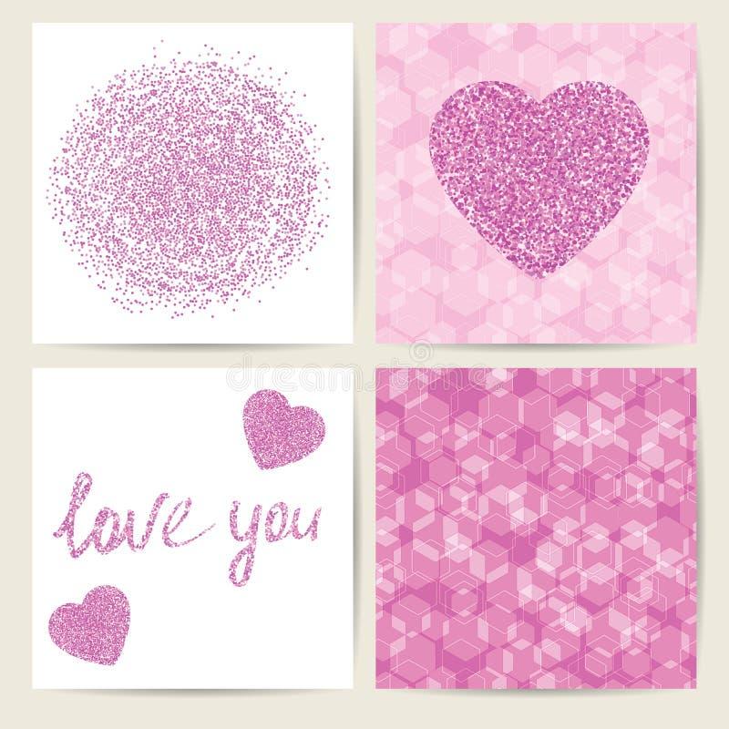 Reeks van vier kaartmalplaatjes Roze modieus ontwerp Naadloze geomet stock illustratie