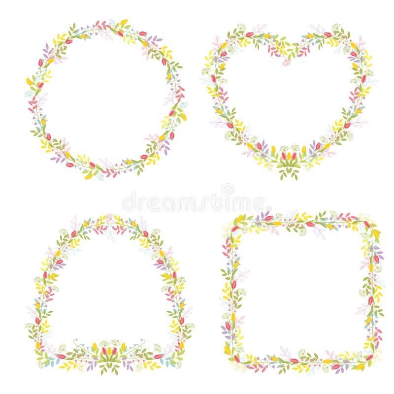 Reeks van vier kaders van verschillende vormen met bloemen en takken met bladeren voor feestelijk ontwerp en decoratie Geïsoleer royalty-vrije illustratie