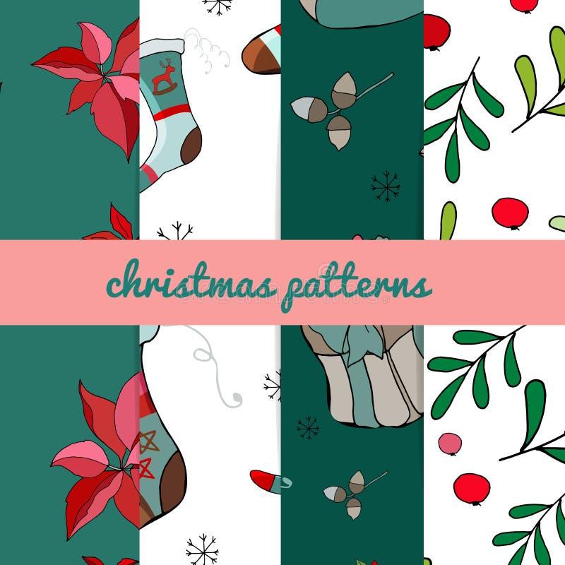Reeks van vier Kerstmispatronen Het vrolijke naadloze patroon van Kerstmis Handdraw Vector royalty-vrije illustratie
