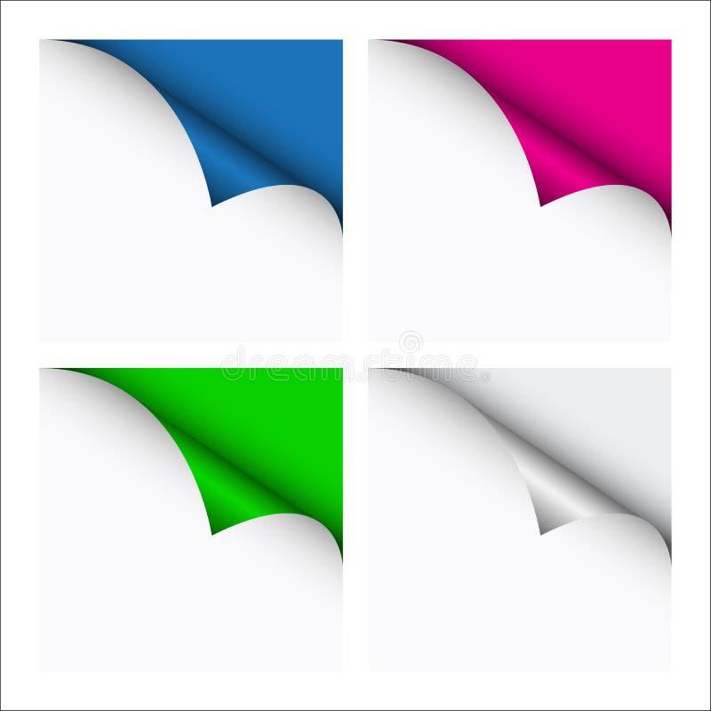 Reeks van vier kleur gekrulde hoeken van witte bladen vector illustratie