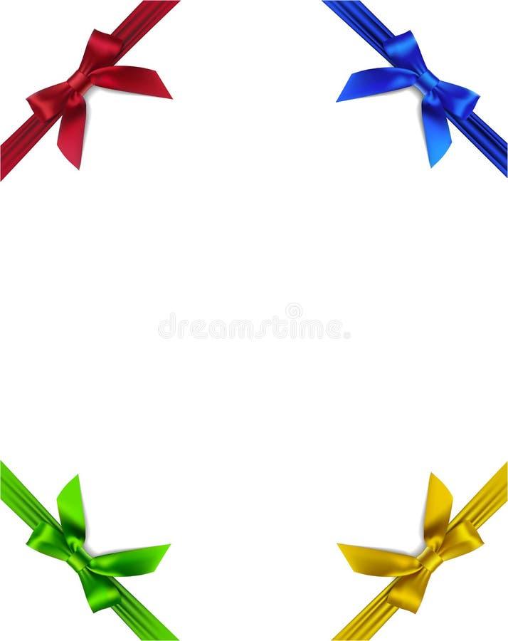 Reeks van vier kleurrijke bogen op de hoek met kader stock illustratie