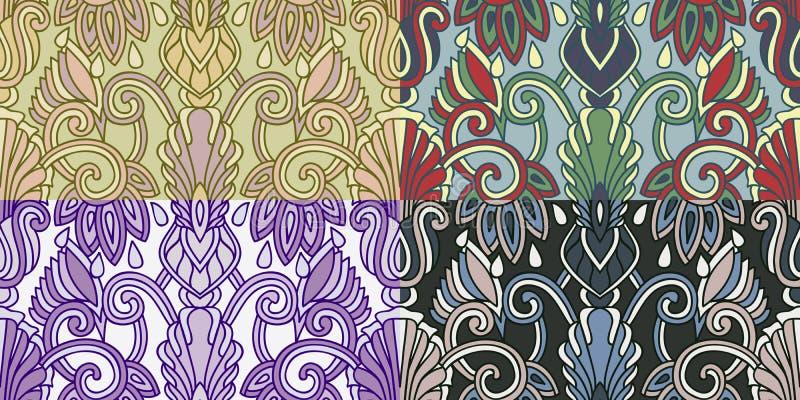 Download Reeks Van Vier Kleurrijke Naadloze Patronen. Eps-8. Vector Illustratie - Illustratie bestaande uit decor, inzameling: 39109570