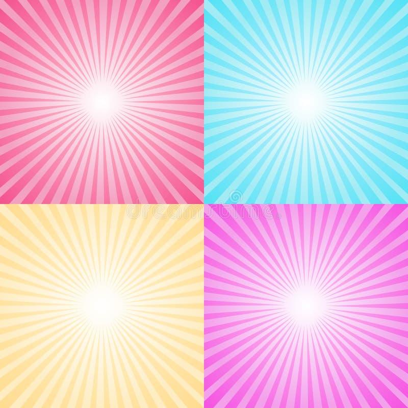 Reeks van vier kleurrijke straalachtergronden royalty-vrije illustratie