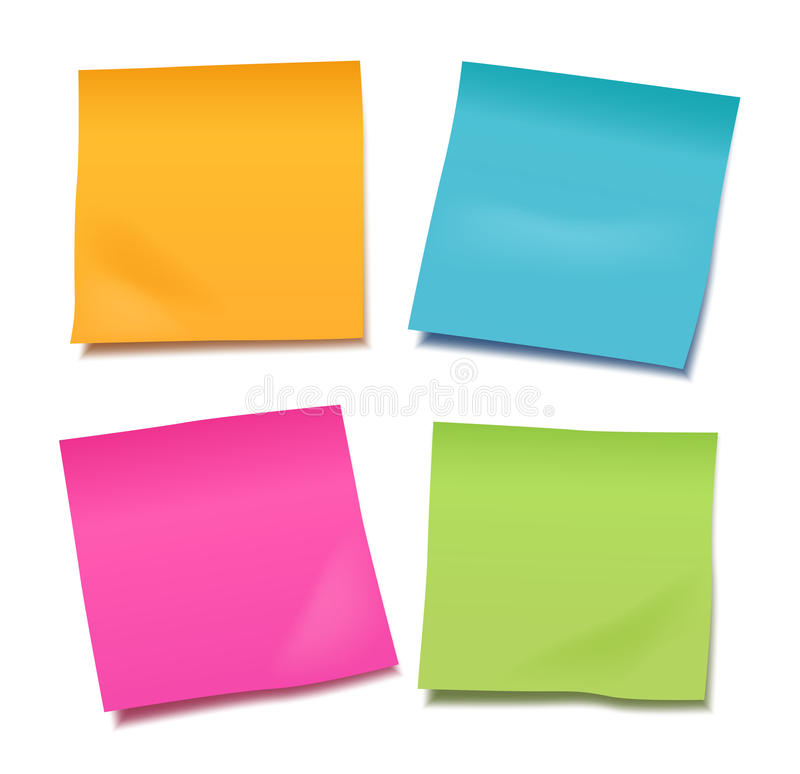 Reeks van vier kleurrijke vector lege post-itnota's voor uw nota of vector illustratie