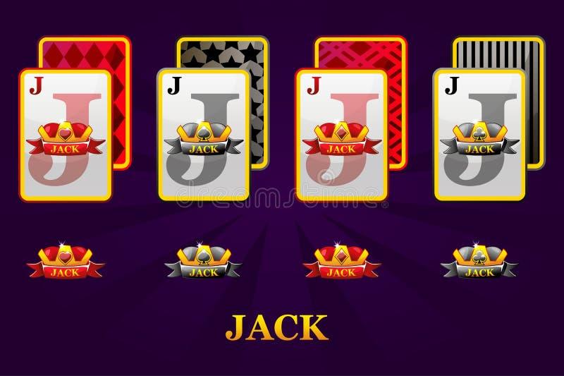 Reeks van vier kostuums van Hefbomenspeelkaarten voor pook en casino Reeks harten, spades, clubs en diamanten Jack vector illustratie