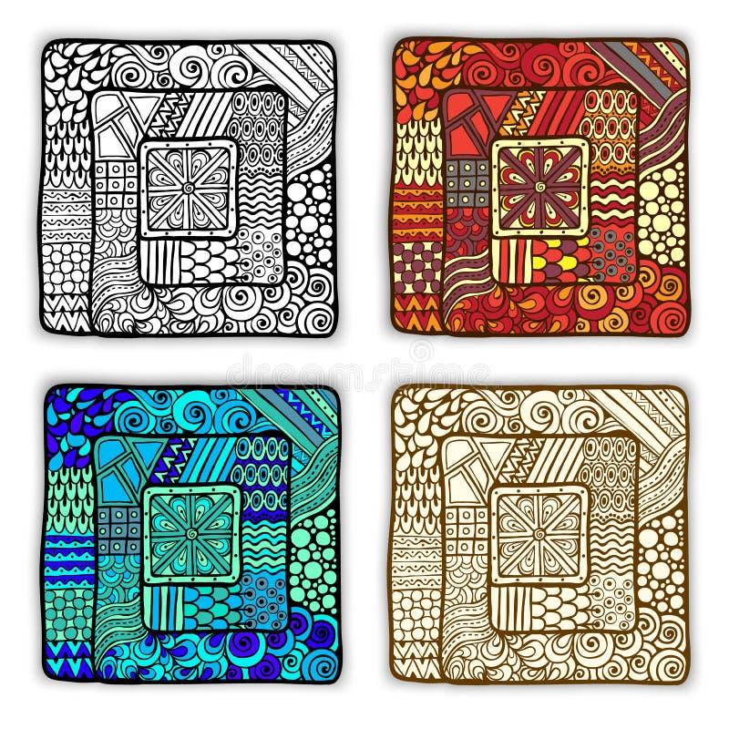 Reeks van vier krabbel etnische kaarten in vector stock illustratie